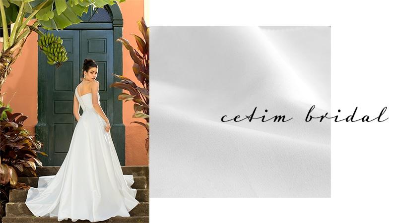 Vestido confeccionado com tecido Cetim Bridal - Pétalas