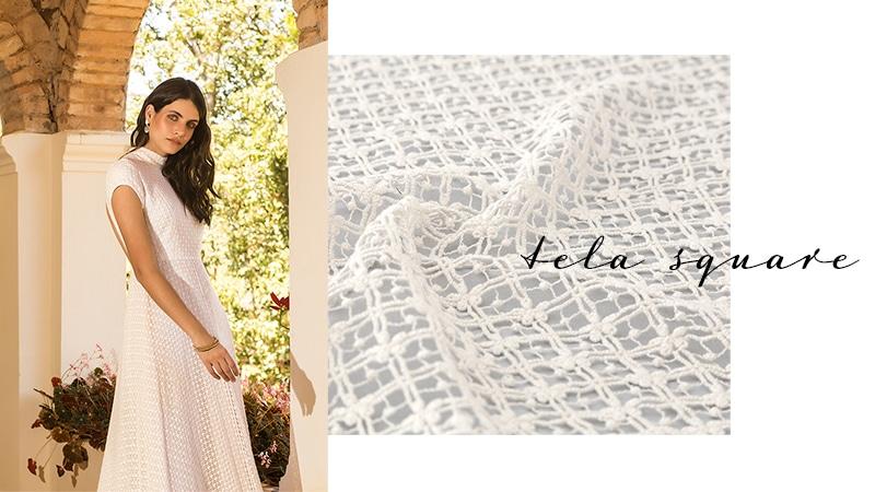 Vestido confeccionado com tecido Tela Square - Pétalas